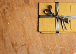 vintage envelopes with a bow